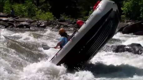 Upper Ocoee Carnage - Raft Standing on End